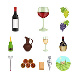 Wine products cartoon icons in set collection for vector