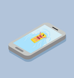 woman swimming on the mobile phone vector image