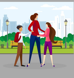 Woman walking with children in public city park vector