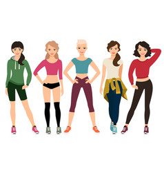 Women in sporty outfits vector