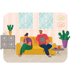 young couple sitting on couch quarreling at home vector image
