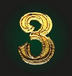 3 golden letter vector image vector image