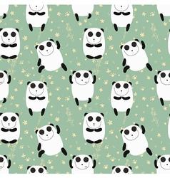 Cartoon pattern with cute panda guru vector