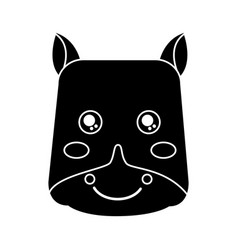 Cute animal hippo head image vector