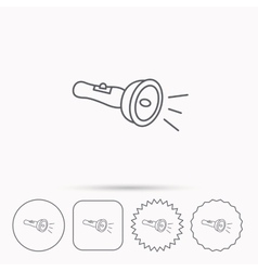Flashlight icon Light beam sign vector image