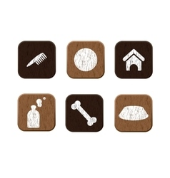 Pet shop wooden icons set vector image