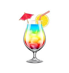 Rainbow cocktail isolated on white vector image vector image