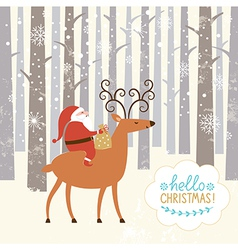 Santa goes on deer vector image vector image