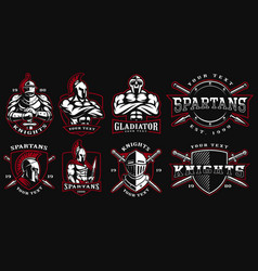 set of badges with ancient warriors vector image