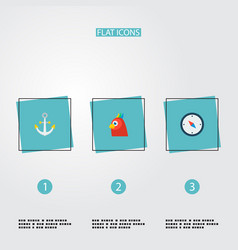 Set of piracy icons flat style symbols with anchor vector