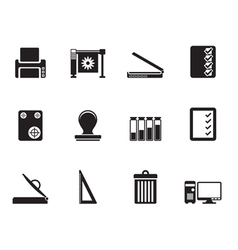 Silhouette Print industry Icons vector image vector image