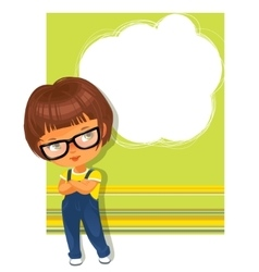 Smart schoolgirl wearing glasses Text frame vector image vector image
