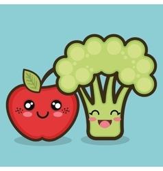 food organic apple and broccoli cartoon design vector image
