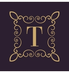 Monogram letter T Calligraphic ornament Gold vector image