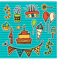 Birthday kids sticker vector