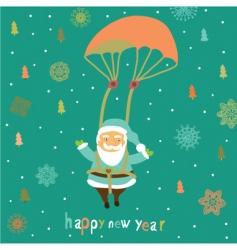 Christmas card with santa vector image vector image