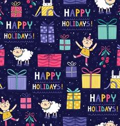 Happy holidays fun seamless pattern vector image