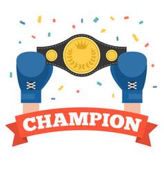 Boxing holding championship belt vector