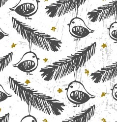 Christmas birds ornament Seamless pattern vector image