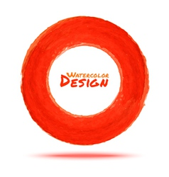 Hand drawn watercolor red circle design element vector