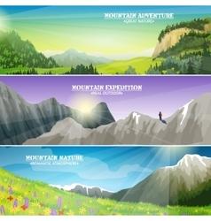 Mountains Landscape Flat Horizontal Banners Set vector image