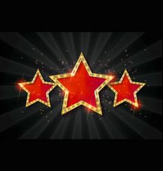 retro light sign three gold red stars vector image vector image