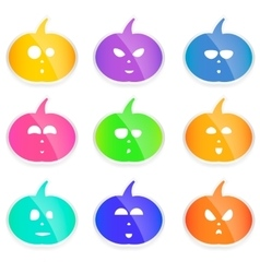 set of colorful Halloween pumpkins cute vector image