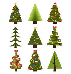 set of decorated christmas trees different shapes vector image