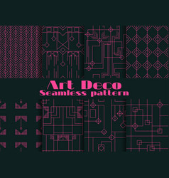 set of seamless patterns of art deco lines and vector image vector image
