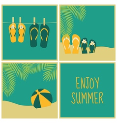 summer vacation greeting cards collection vector image