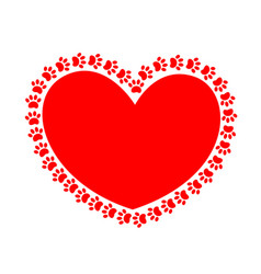 Animal charity icon heart paws vector