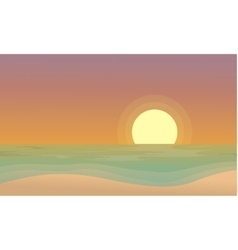 At sunset beach scenery of silhouettes vector image