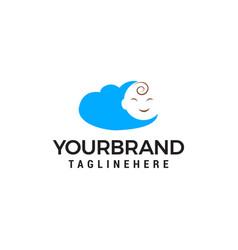 Baby face cloud logo design concept template vector