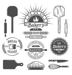 Bakery brick oven emblems design elements vector