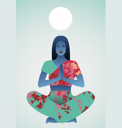 Beautiful indian girl doing yoga or meditation vector