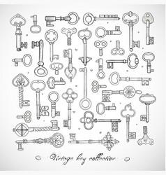 Big collection doodle vintage keys on white vector