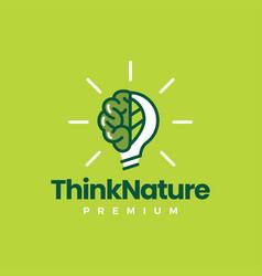 Brain leaf bulb think nature idea logo icon vector