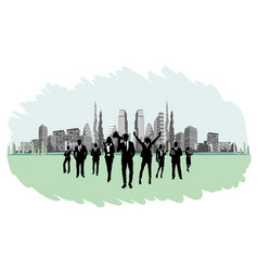 businesspeople on the background buildings vector image