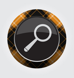 Button with orange black tartan - magnifier icon vector