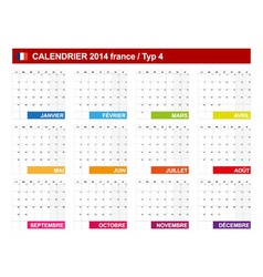 Calendar 2014 French Type 4 vector image