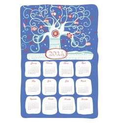 calendar 2014 snow tree vector image