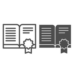 Certified literature line and glyph icon approved vector