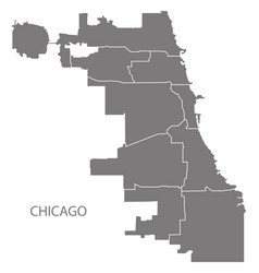 Chicago city map with boroughs grey silhouette vector