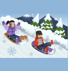 children playing sledding vector image