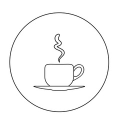 coffee cup icon in outline style isolated on white vector image