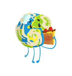 cute cartoon earth planet character eating a piece vector image