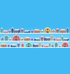 cute houses in winter season snowy town street vector image