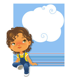 Cute little girl sitting looking up Text frame vector