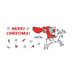 cute sketch funny santa claus vector image