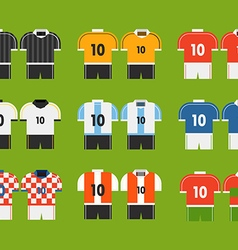 Different soccer team t-shirts clip-art vector image